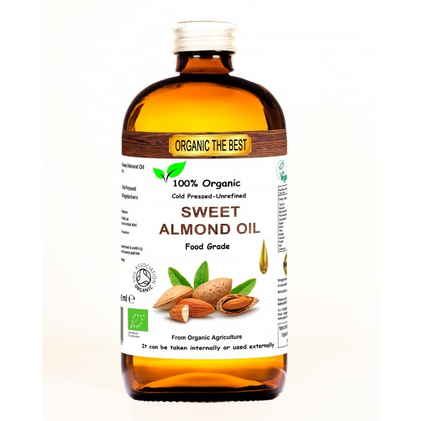 Organic Sweet Almond Oil 240 ml Cold Pressed Unrefined  Edible