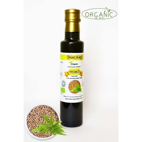 Organic Hemp Seed Oil Cold Pressed Unrefined, Certified Premium Quality 250ml